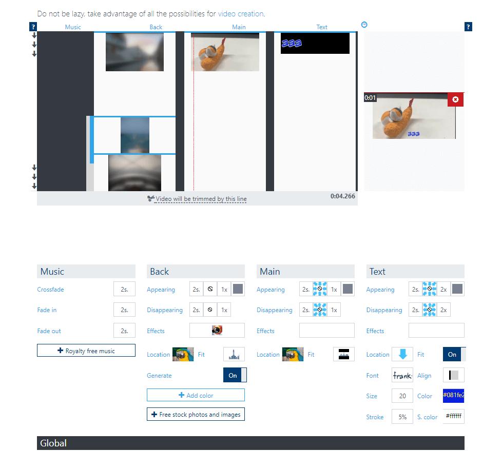 Interface movie maker en ligne