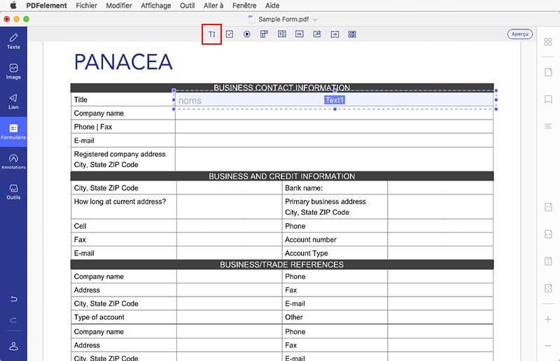 créer un formulaire pdf sur mac