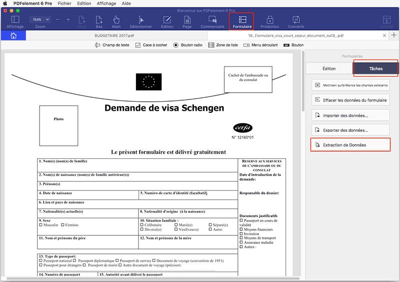 exporter données formulaire pdf en feuille de calcul excel mac