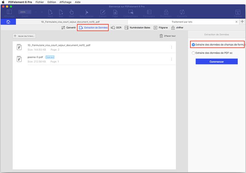 extraction de données de formulaire pdf mac