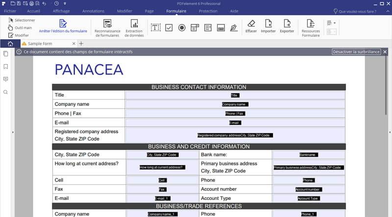 éditer le formualaire pdf