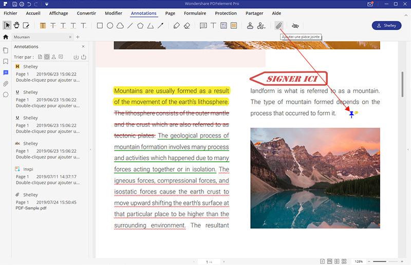 annoter un pdf avec une pièce jointe
