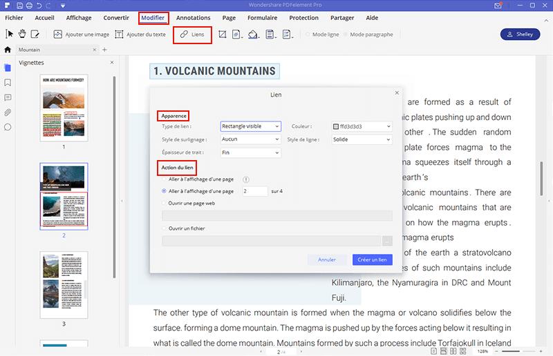 modifier lien hypertexte sur pdf