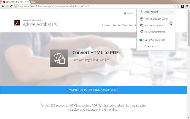 enregistrer une page web en pdf acrobat