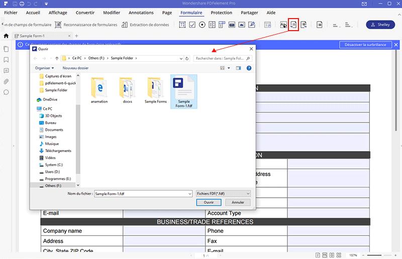 importer données dans formulaire pdf