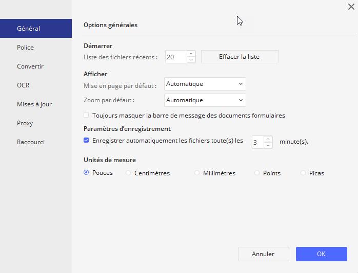 Options de fichier
