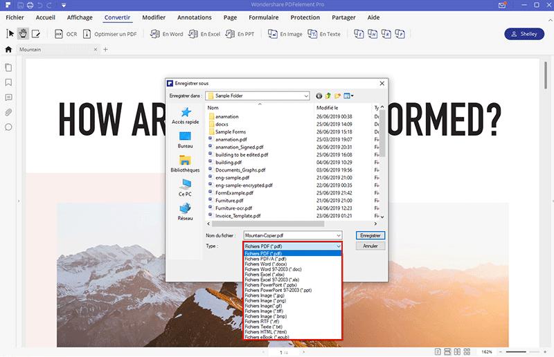 select output folder