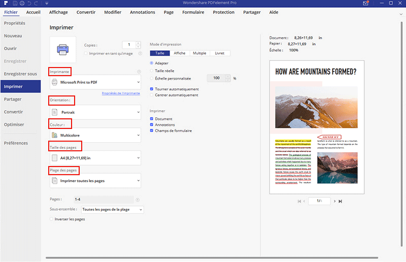 imprimer commentaires dans pdf