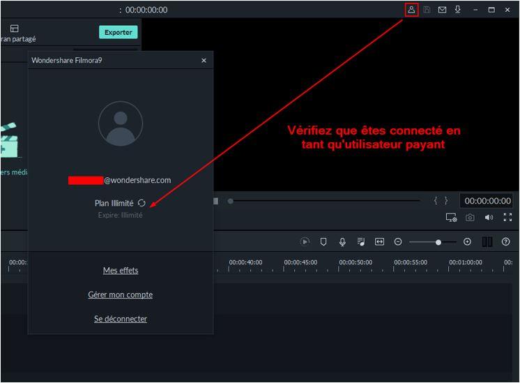 Information de compte Filmora