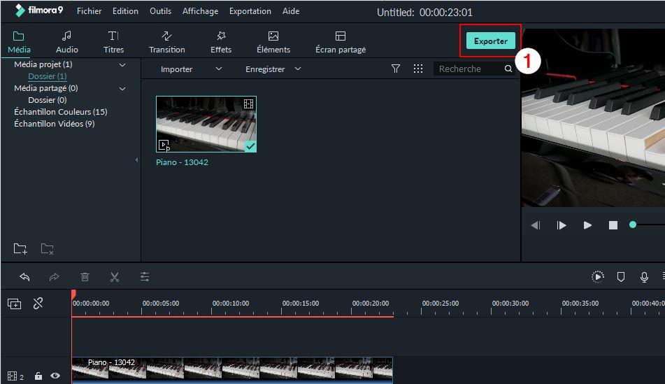 Exportation dans Filmora9