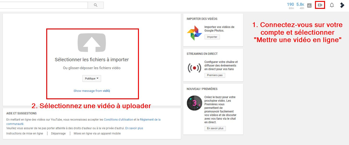 Exportation sur Youtube