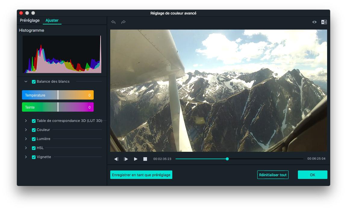 Amélioration des couleurs dans les vidéos d'action 2