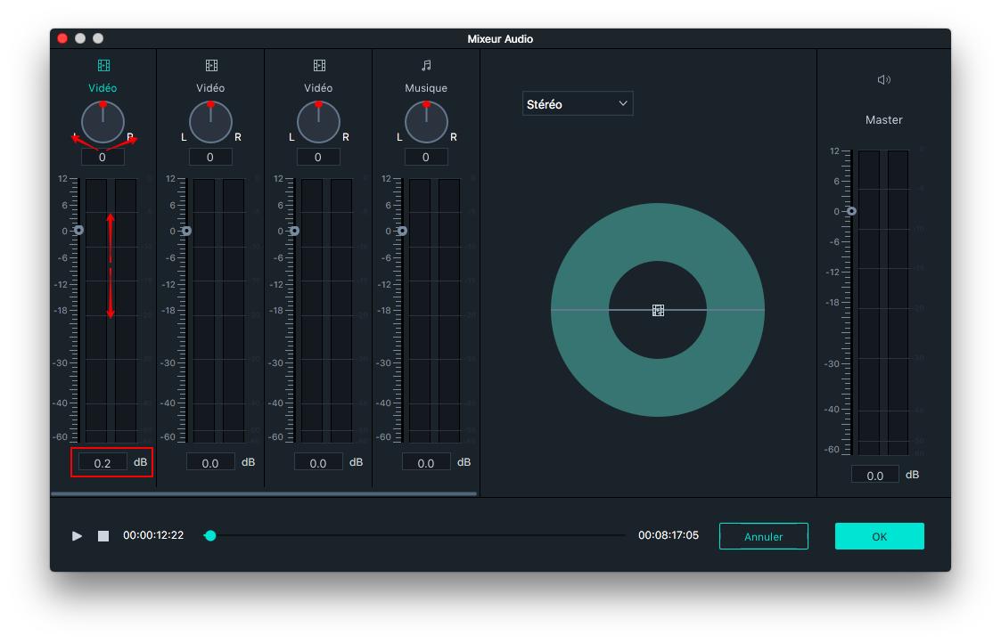 Ajustement audio mixeur Filmora 9 Mac