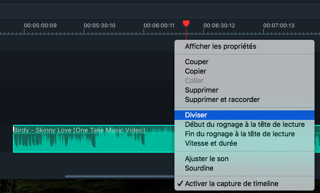 Diviser des clips audio Filmora 9 Mac
