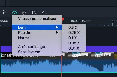 Modifier Vitesse Filmora Mac