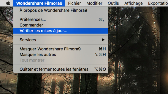 Vérifier les mises à jour - Filmora9 Mac