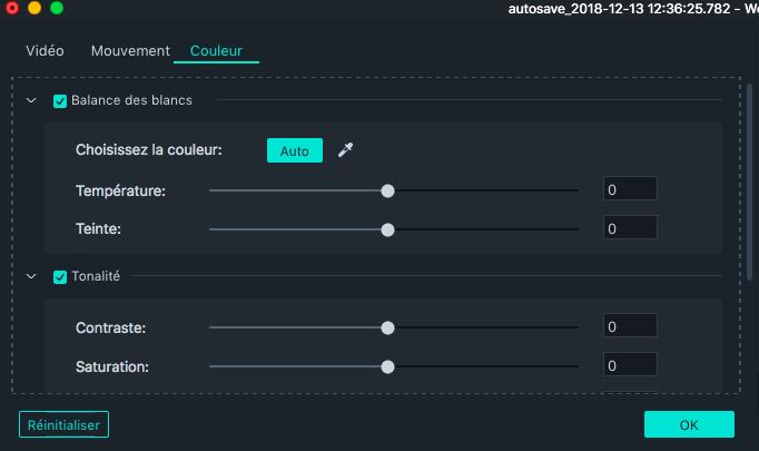 Améliorer les couleurs Filmora Mac
