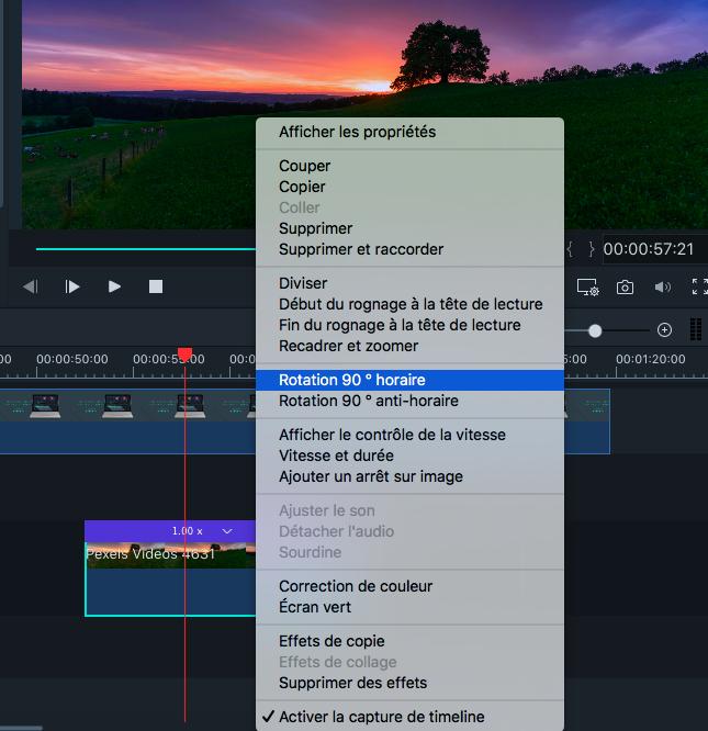 Faire pivoter une vidéo sur Filmora Mac