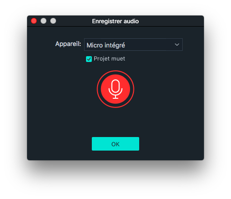 Interface d'enregistrement audio Filmora pour Mac