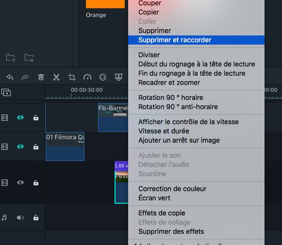 Option Supprimer et Raccorder pour Filmora sur Mac