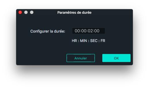 Paramètres de durée des transitions Filmora Mac