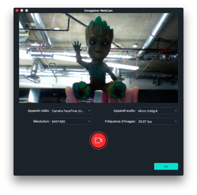 Enregistrer depuis la webcam du Mac