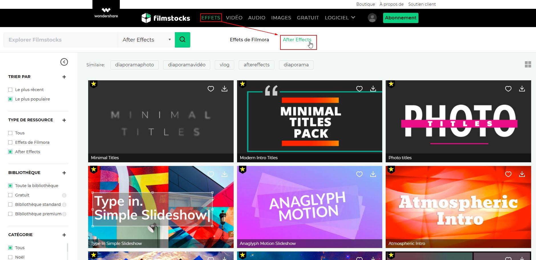 Effets vidéo Filmora de Filmstocks