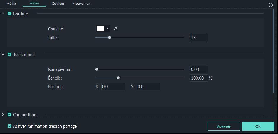Interface des option des écrans partagés