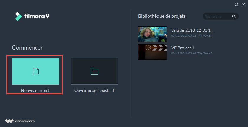 Créer un nouveau projet