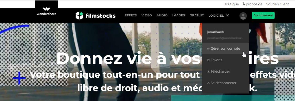 Gestion de compte Filmstocks