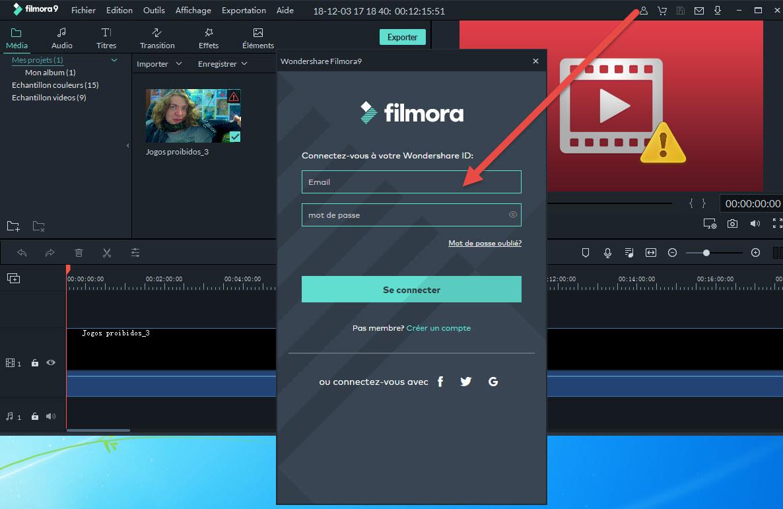 Se connecter avec Wondershare ID