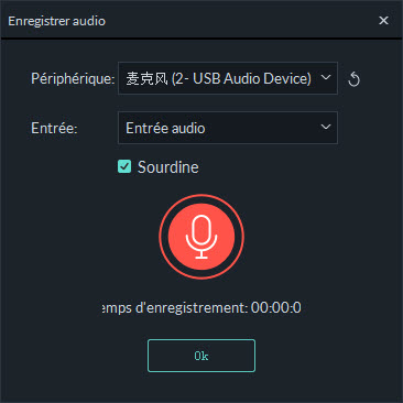 fenetre d'enregistrement audio
