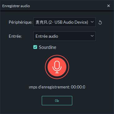 fenetre d'enregistrement audio