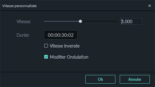 Interface changement vitesse de la video