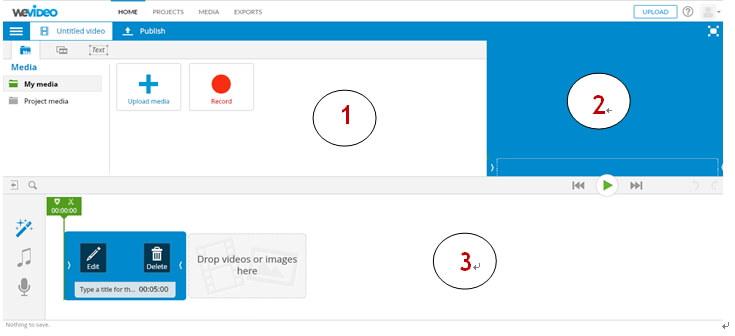 page principale du logiciel wevideo