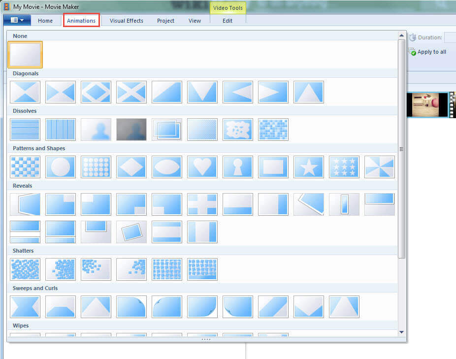 Ajouter des Transitions dans Windows Movie Maker