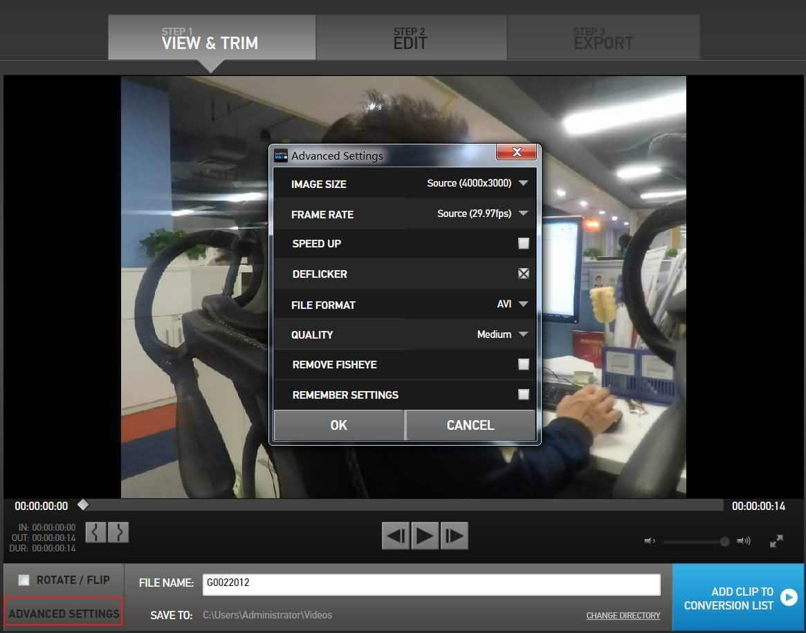 GoPro Studio Advanced Settings