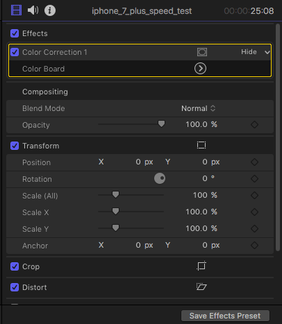 Color correction effects on video inspector.