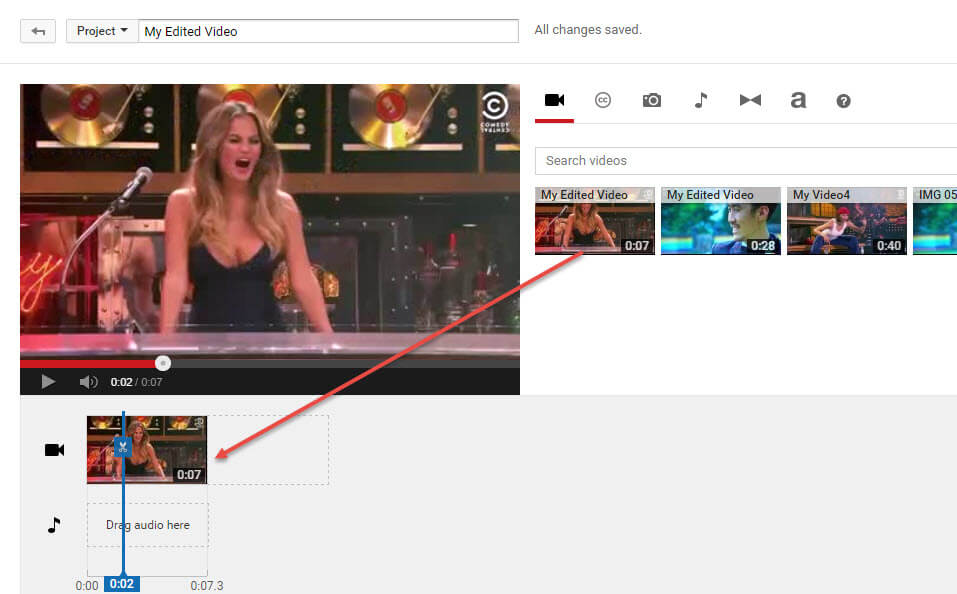drag video to YouTube timeline