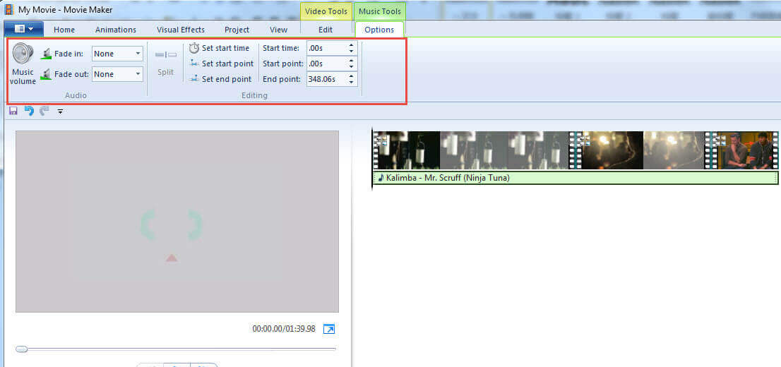 Editer de la Musique dans Windows Movie Maker