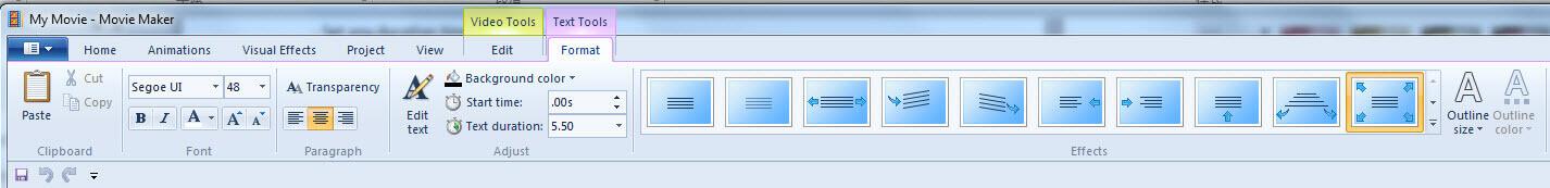 Editer l'Effet Texte