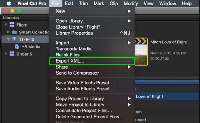 Exporter XML de Final Cut