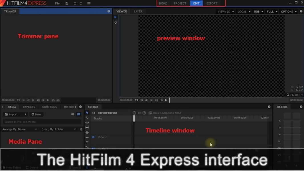 Interface hitfilm