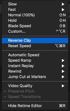 Inverser le clip vidéo en utilisant FCP -1