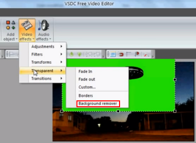 vsdc video editor green screen