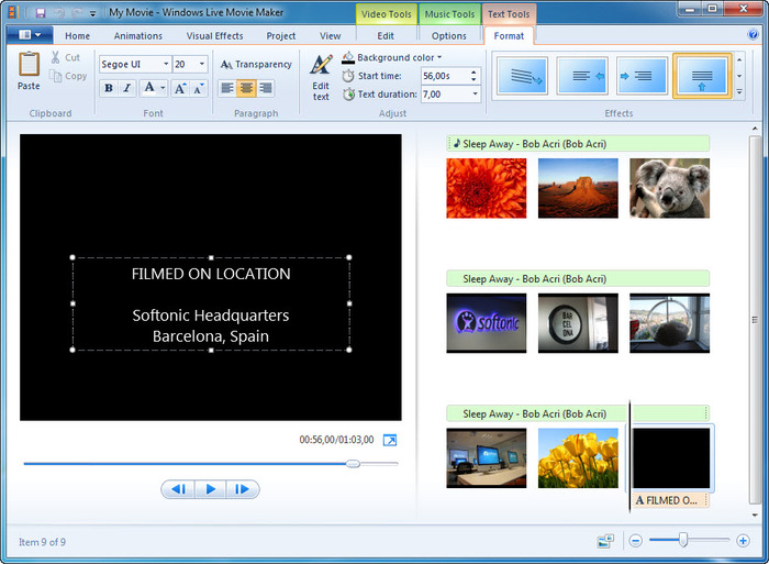 Écran de présentation du logiciel Windows Movie Maker pour windows 10