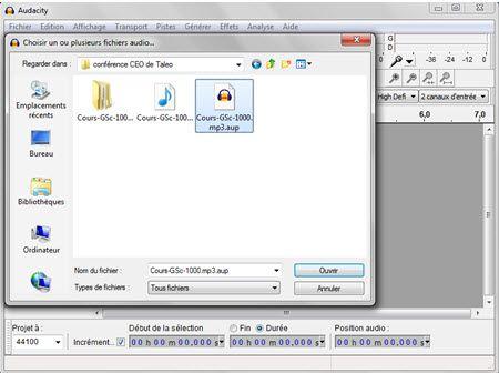 Convertir un fichier AUP en fichier MP3