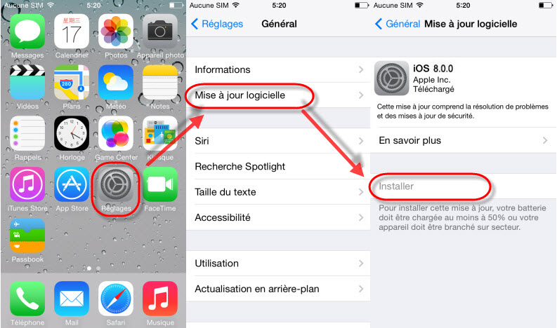 comment installer ios 8