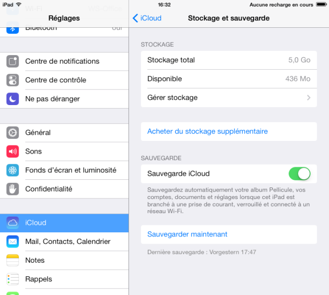 sauvegarder ipad sur icloud avant iOS 8