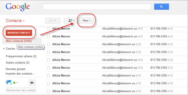 contact gmail sur iphone